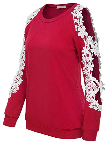 Out Shoulder Lace Sleeve Blouse T-Shirt For Women (S,Red) (Red Prime T-shirt)