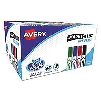 Avery 98188 MARK A LOT Marcador de borrado en seco de estilo de escritorio, punta de cincel, surtido (paquete de 24)