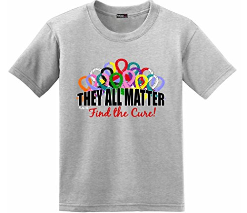 (Fight Like a Girl They All Matter Cancer T-Shirt Kids Heather Grey [Youth S])