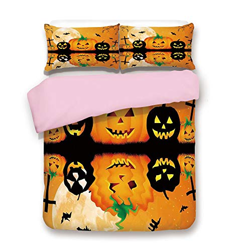 iPrint Pink Duvet Cover Set,Queen Size,Spooky Carved Halloween Pumpkin Full Moon with Bats and Grave Lake,Decorative 3 Piece Bedding Set with 2 Pillow Sham,Best Gift for Girls Women,Orange Black ()