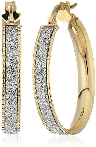 10k Italian Yellow Gold Glitter Hoop Earrings