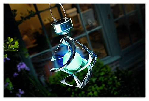 Cole & Bright 6726 - Stainless Steel Color Changing Solar Galaxy Windspinner LED Light (Solar Powered Stainless Steel Acrylic)