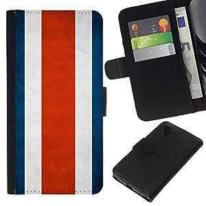 KLONGSHOP // Tirón de la caja Cartera de cuero con ranuras para tarjetas - Nación Bandera Nacional País Costa Rica - LG Nexus 5 D820 D821 //