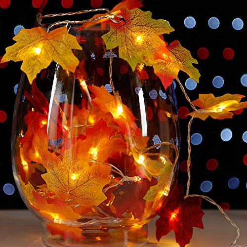 SAM UNCLE 40 LED Fall Maple Leaf String Lights, Thanksgiving Decorations Lighting Garland, Battery Powered, Waterproof Orange Fall Garland Lights for Party Halloween Indoor Decor (14.7 Ft)