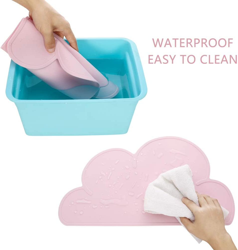 Anti-Slip Heat Non-Stick Baby Feeding Plate Portable Tableware for Toddlers FANCYLEO EU 2PCS Cloud Silicone Kids Placemat 48/×27cm Kids Blue+Cyan Infant