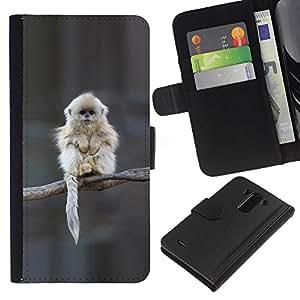 KLONGSHOP // Tirón de la caja Cartera de cuero con ranuras para tarjetas - Japonés nieve Mono Mono Lindo - LG G3 //
