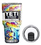 YETI Coolers 30 Ounce (30oz) (30 oz) Custom Rambler Tumbler Cup Mug Bundle with New Magslider Lid (Dipped Oil Slick)