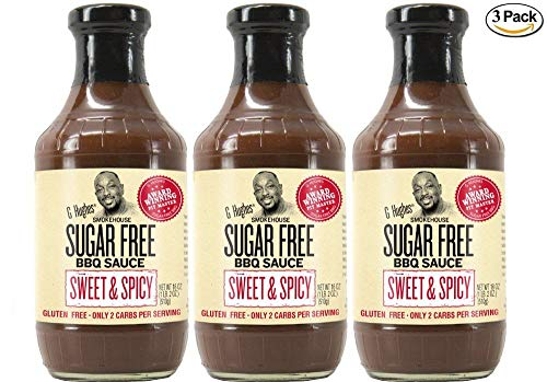G Hughes Sugar Free Sweet & Spicy BBQ Sauce 18 oz (3 Pack)