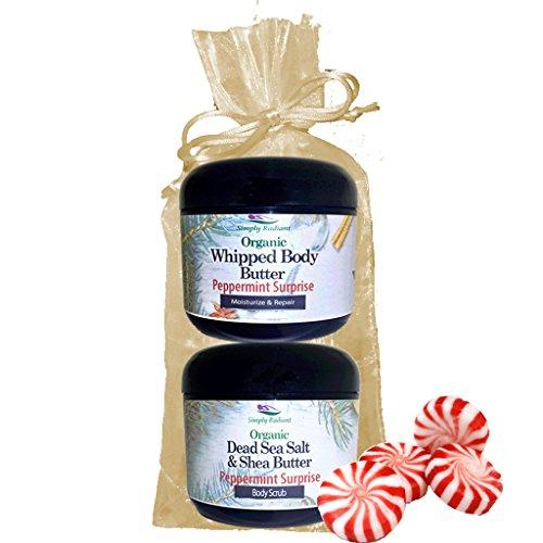 Simply Radiant Beauty Organic Skin Care Bath & Body Gift Set Peppermint Surprise Set 8oz Dead Sea Salt & Shea Butter + 8 oz. Whipped Body Butter -