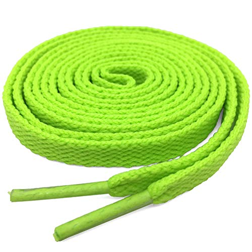 "DELELE 2 Pair 23.62""Super Quality 24 Colors Flat Shoe laces 5/16"" Wide Shoelaces for Athletic Running Sneakers Shoes Boot Strings Fluorescent Green"
