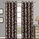 Cheap Charlotte Chocolate Grommet Jacquard Window Curtain Panels, Pair / Set of 2 Panels, 52×108 inches Each, by Royal Hotel