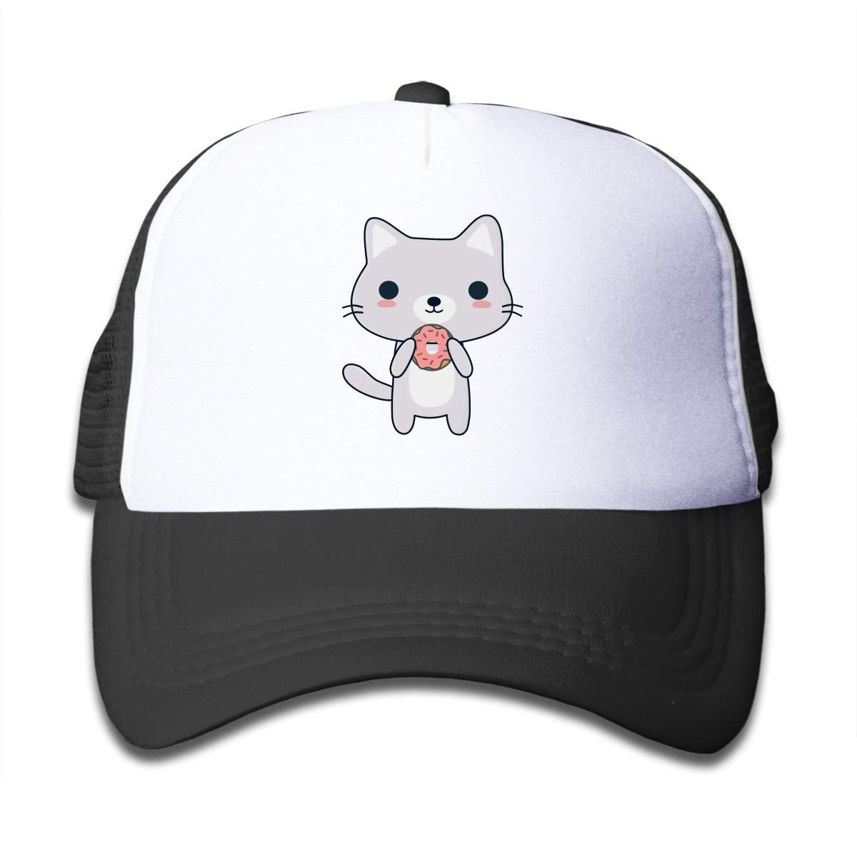 Kawaii Cat Eating A Donut Children Hip Hop Caps Hat Black