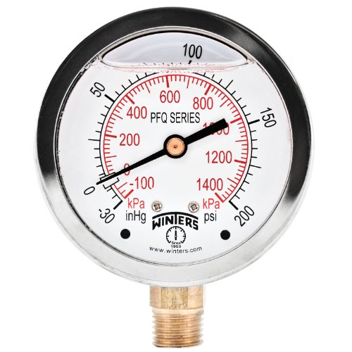 (Winters PFQ Series Stainless Steel 304 Dual Scale Liquid Filled Pressure Gauge with Brass Internals, 30