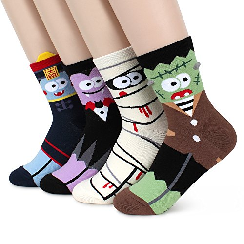 Monsters Funny Crazy Socks (Halloween Monsters 4pairs) -
