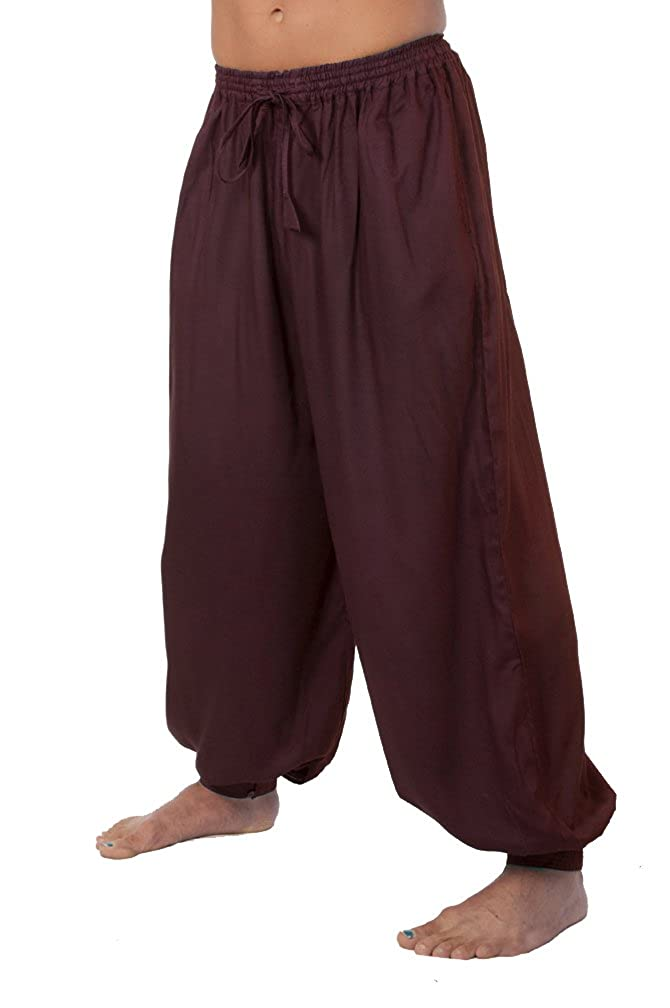 Wine Drawstring Waist Button Cuff Pirate Pants
