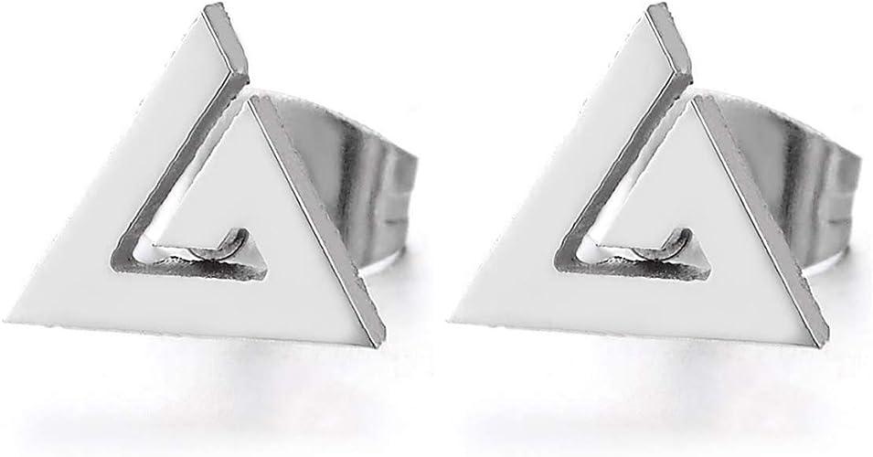Spirale Triangle Pyramide Egypte Clous doreille Acier Inoxydable Boucles doreilles pour Homme Femme 2 Pi/èces