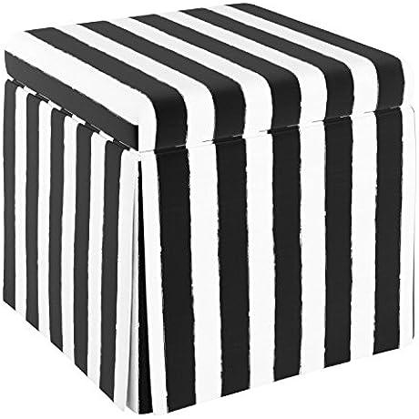 Cloth Co Carla Skirted Storage Ottoman Brush Cabana Black