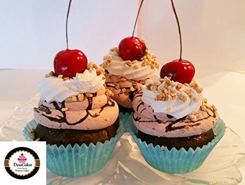 Cherry Chocolate Cakes - Dezicakes Fake Cupcakes Chocolate Cherry Faux Cupcakes- Fake Food Display SET of 3