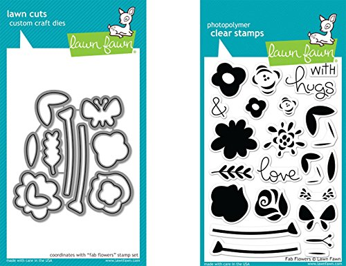 Lawn Fawn Fab Flowers Clear Stamp and Die Bundle LF1332 LF1333 (Set of 2 Items)