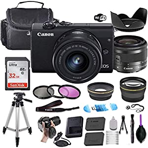 Best Epic Trends 51uA3DCufAL._SS300_ Canon EOS M200 Mirrorless Digital Camera (Black) w/EF-M 15-45mm f/3.5-6.3 is STM + Wide-Angle and Telephoto Lenses…