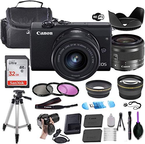 Canon EOS M200 Mirrorless Digital Camera (Black) w/EF-M 15-45mm f/3.5-6.3 is STM + Wide-Angle and Telephoto Lenses…