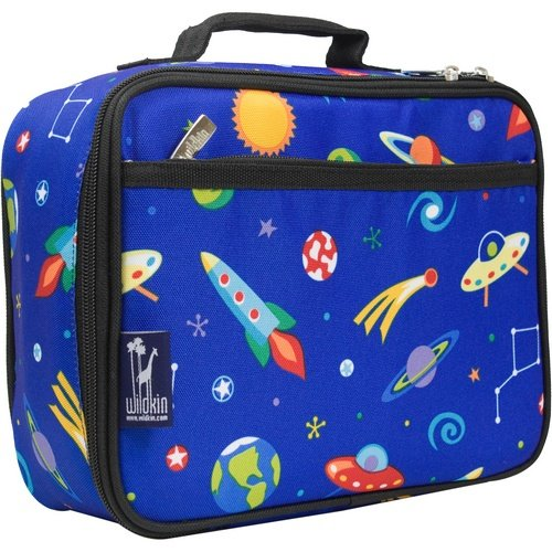 Wildkin Lunch Box, Insulated, Moisture Resistant, and Easy to Clean with Extras for Quick and Simple Organization, Ages 3+, Perfect for Kids or On-The-Go Parents, Olive Kids Design, Out of this World -