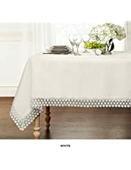 """GoodGram Ultra Luxurious Textured Macrame Trim Fabric Tablecloth By Assorted Sizes & Colors - White, 60"""" x 120"""" Rectangle (10-12 Chair)"""