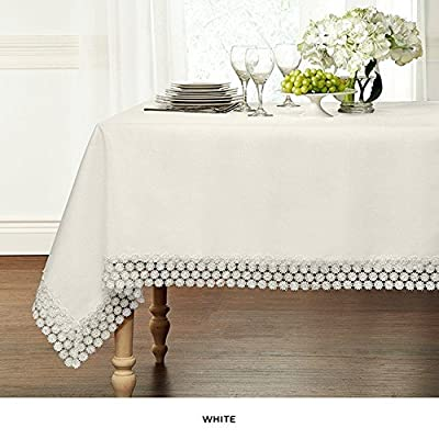 "GoodGram Ultra Luxurious Textured Macrame Trim Fabric Tablecloth By Assorted Sizes & Colors - White, 60"" x 120"" Rectangle (10-12 Chair) - Whats Included: 1 Tablecloth Assorted Sizes & Colors Heavyweight Macrame Trim **White color may appear Off White/Ivory in certain lighting** - tablecloths, kitchen-dining-room-table-linens, kitchen-dining-room - 51uA3Ko51aL. SS400  -"