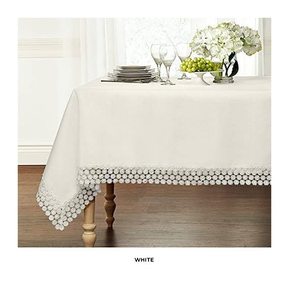 "GoodGram Ultra Luxurious Textured Macrame Trim Fabric Tablecloth Assorted Sizes & Colors - White, 60"" x 120"" Rectangle (10-12 Chair) - Whats Included: 1 Tablecloth Assorted Sizes & Colors Heavyweight Macrame Trim **White color may appear Off White/Ivory in certain lighting** - tablecloths, kitchen-dining-room-table-linens, kitchen-dining-room - 51uA3Ko51aL. SS570  -"