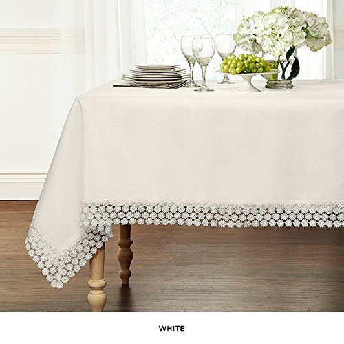 Ultra Luxurious Textured Macrame Trim Fabric Tablecloth By GoodGram - Assorted Sizes & Colors - White, 70