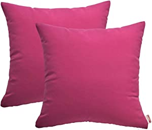 RSH Décor Set of 2- Sunbrella Indoor/Outdoor Water Resistant Canvas Hot Pink Decorative Throw/Toss Pillow Cushions for Patio Furniture/Home Décor-Choose Size & Choose Color