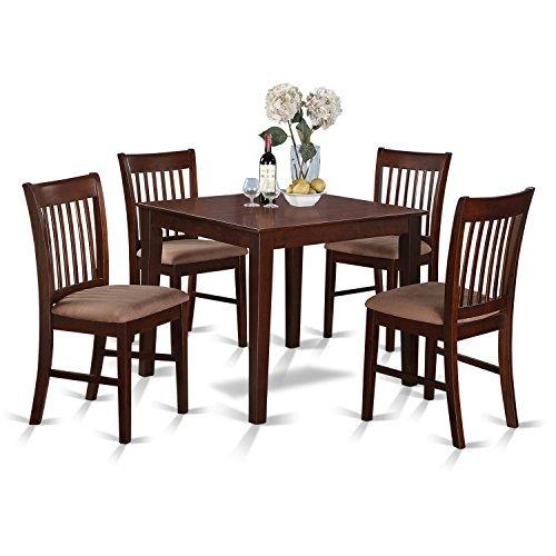 East West Furniture OXNO5-MAH-C 5-Piece Kitchen Table Set, Mahogany (Dining Room Mahogany Bench)