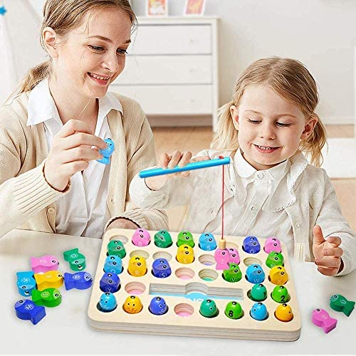 Z-NUOJIA Wooden Magnetic Fishing Game, Number and Alphabet ...