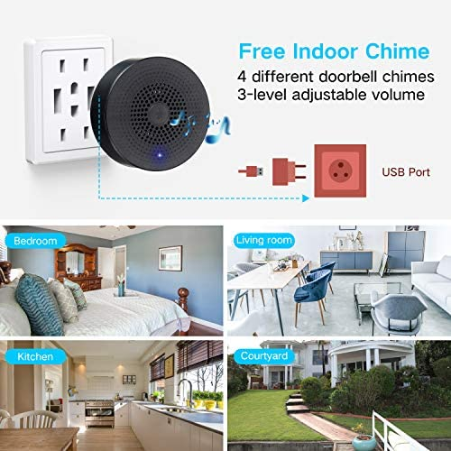 【32GB Preinstalled】WiFi Video Doorbell,MECO 1080P Doorbell Camera with Free Chime, Wireless Doorbell with Motion Detector, Night Vision, IP65 Waterproof, 166°Wide Angle, 2 Way Audio, 2.4GHz WiFi 51uA3jszjbL