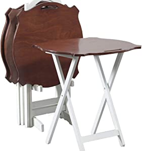 Powell Furniture Laptop Folding Modern Tray Table, White with Hazelnut Top,