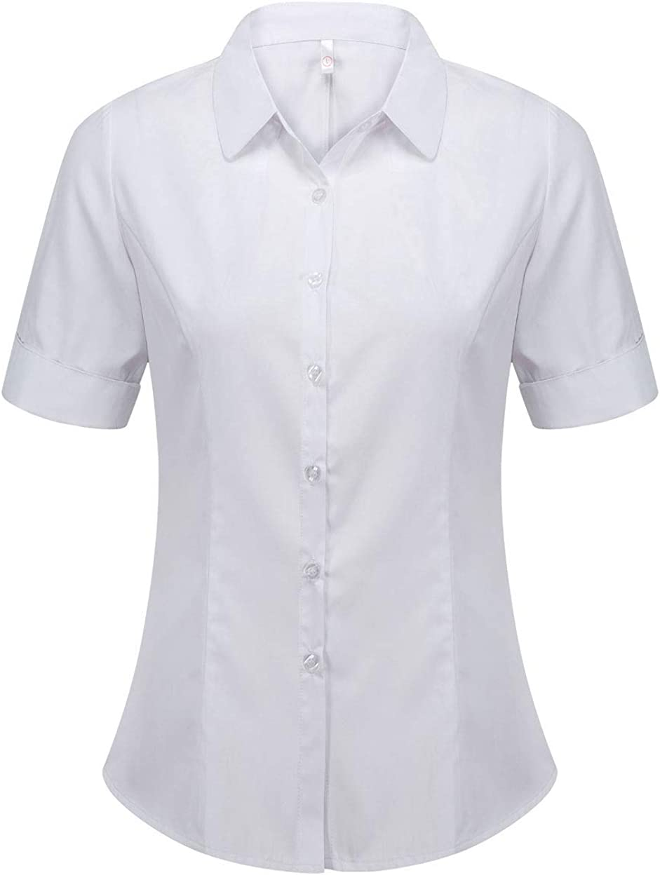 Women's Cotton Basic Simple Stretch Button Down Shirt Tailored Short Sleeve Blouse