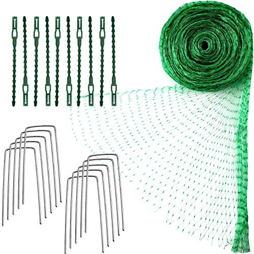 Green Anti Bird Protection Net Garden Plant Mesh Netting Fruit Trees Netting with Cable Ties and U-Shaped Garden Pegs, 4m x 10m(13.1 x 32.8 ft)