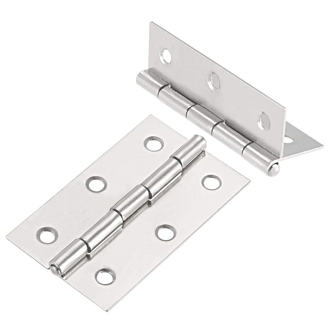 uxcell 2.68 Hinge Silver Door Cabinet Hinges Fittings Brushed Chrome Plain 10pcs a18061300ux0241
