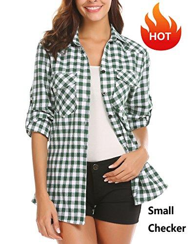Zeagoo Women's Plaid Flannel Shirt, Roll up Long Sleeve Checkered Cotton Shirt,Grass Green1,Medium