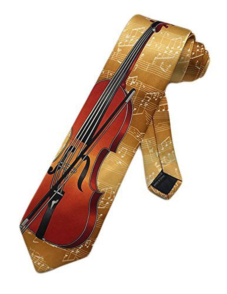 New Company Violin Viola Music Instrument Necktie - Gold - One Size Neck Tie