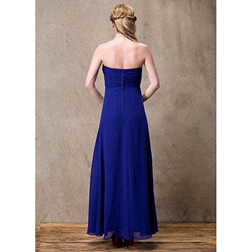 Chiffon Beauty Blau lang Kleid Trägerloses Brautjungfer Emily qwtazRwO