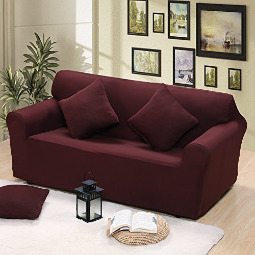 1 Piece Loveseat Cover Couch Stretch Lightweight Anti-wrinkle Spandex Protector Chocolate (2x Free Pillow Cases) by Argstar