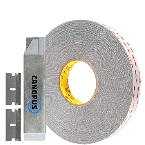 3M Adhesive Double Sided VHB Tape, Multi-Purpose Acrylic Mounting Tape, Converted from RP45 Gray roll, (3/4 in x 5 yd) with Box Cutter (1PC) and Razor Replacement (2PCs)