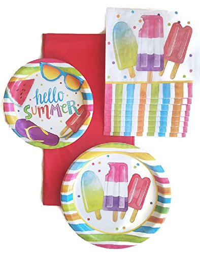 Beach Pool Party Paper Plate, Napkin and Tablecloth Bundle of 3 Service for 16