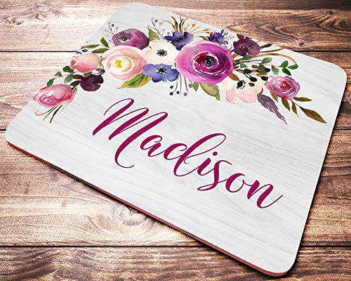 Personalized Floral Name Mouse Pad Pink Purple Watercolor Flowers Mousepad Womens Desk Accessories Office Supplies