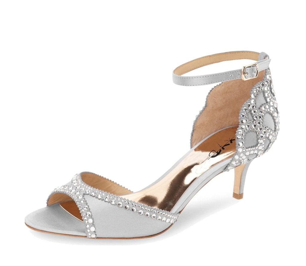 XYD Ballroom Dance Shoes Wedding Sandals Pumps with Rhinestones Ankle Strap Peep Toe Heels for Women Size 13 Gray