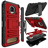 Motorola Moto Z2 Force Case, Zenic Full-Body Heavy Duty Shockproof Protective Hybrid Case Cover with Swivel Belt Clip and Kickstand for Moto Z2 Force (Red)