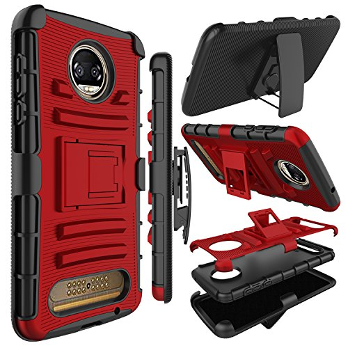 Motorola Moto Z2 Force Case, Zenic Full-body Heavy Duty Shockproof Protective Hybrid Case Cover with Swivel Belt Clip and Kickstand for Moto Z2 Force (Red/Black)