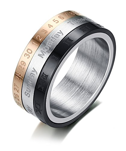 YIKOXI 8mm Gear Ring Design Novelty Stainless Steel Calendar tricolor Spinner Rings for Men (8) (Color Tri Ring)