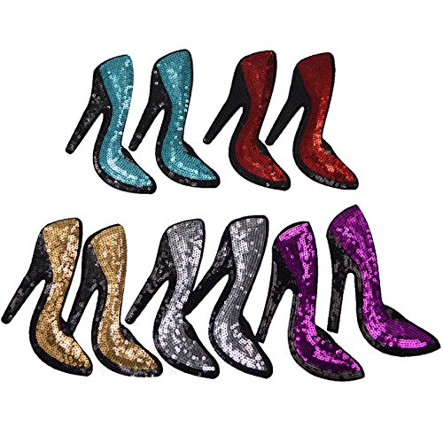 Aisa 5 Pairs High Heel Sequin and Embroidery Patch Garment Applique Iron on DIY Decoration Patch